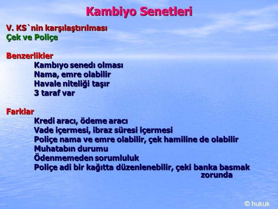 Kambiyo Senetleri V. KS`nin karşılaştırılması Çek ve Poliçe Benzerlikler Kambıyo senedı olması Nama, emre olabilir Havale niteliği taşır 3 taraf var F