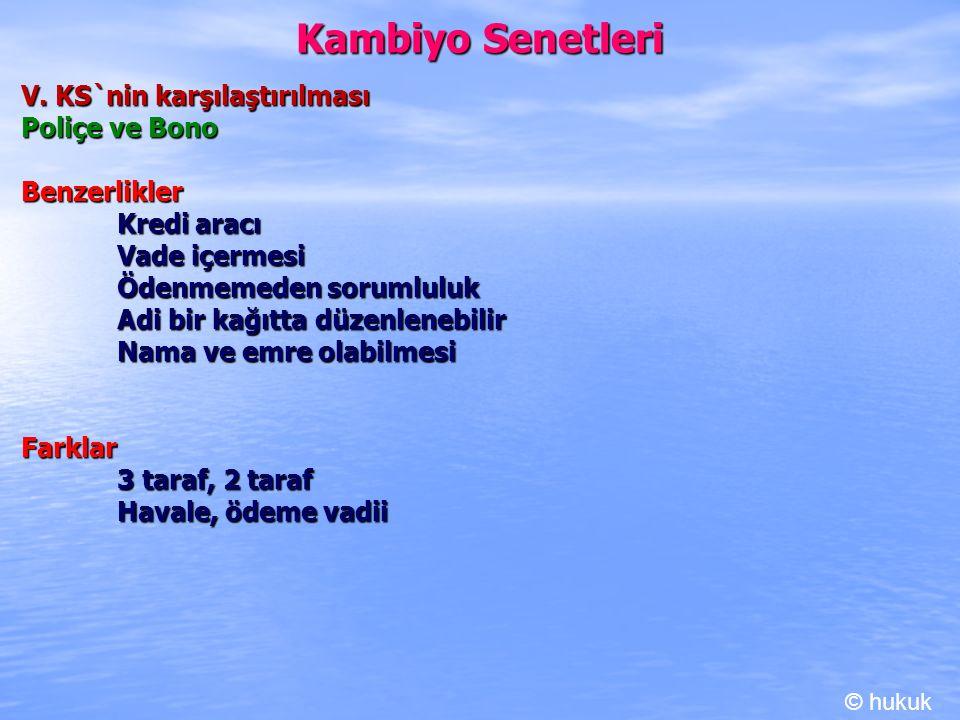 Kambiyo Senetleri V. KS`nin karşılaştırılması Poliçe ve Bono Benzerlikler Kredi aracı Vade içermesi Ödenmemeden sorumluluk Adi bir kağıtta düzenlenebi