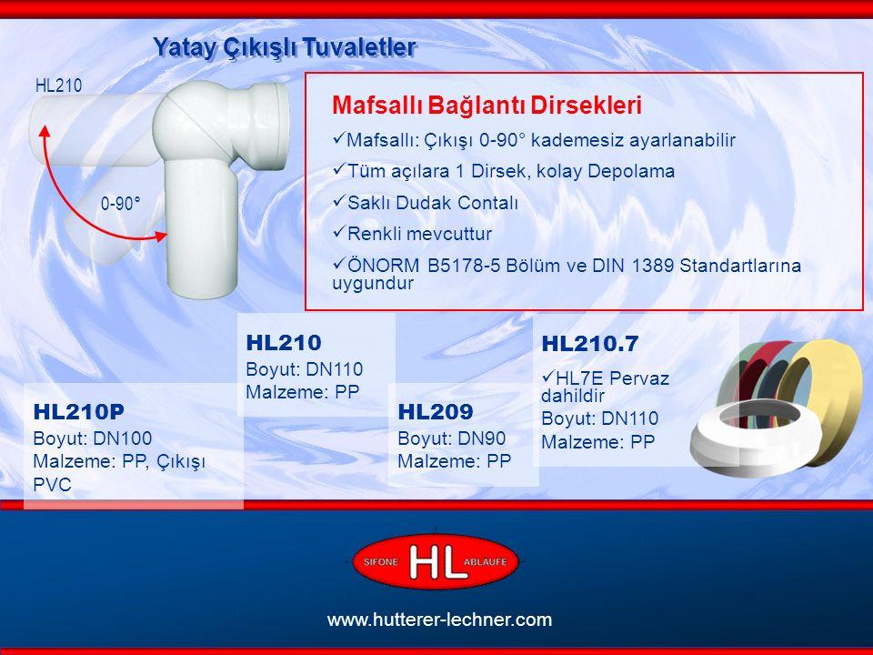 www.hutterer-lechner.com Yatay Çıkışlı Tuvaletler 0-90° Mafsallı Bağlantı Dirsekleri Mafsallı: Çıkışı 0-90° kademesiz ayarlanabilir Tüm açılara 1 Dirsek, kolay Depolama Saklı Dudak Contalı Renkli mevcuttur ÖNORM B5178-5 Bölüm ve DIN 1389 Standartlarına uygundur HL210 Boyut: DN110 Malzeme: PP HL209 Boyut: DN90 Malzeme: PP HL210P Boyut: DN100 Malzeme: PP, Çıkışı PVC HL210.7 HL7E Pervaz dahildir Boyut: DN110 Malzeme: PP