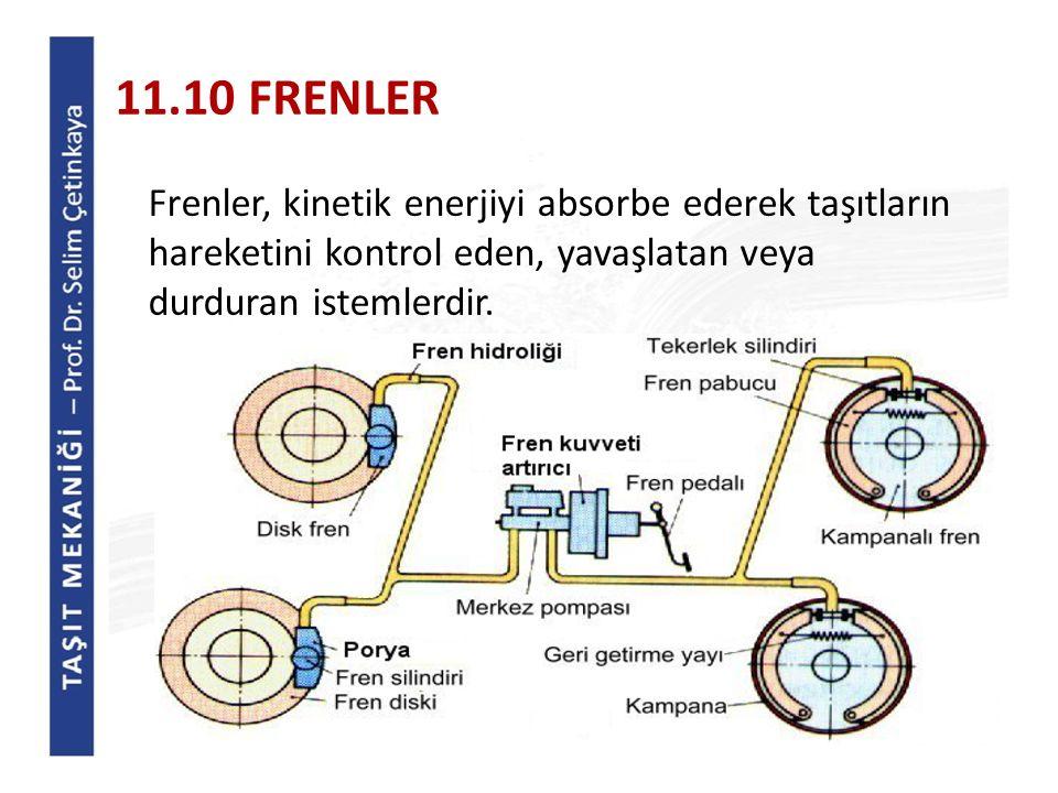 11.10 FRENLER Frenler, kinetik enerjiyi absorbe ederek taşıtların hareketini kontrol eden, yavaşlatan veya durduran istemlerdir.