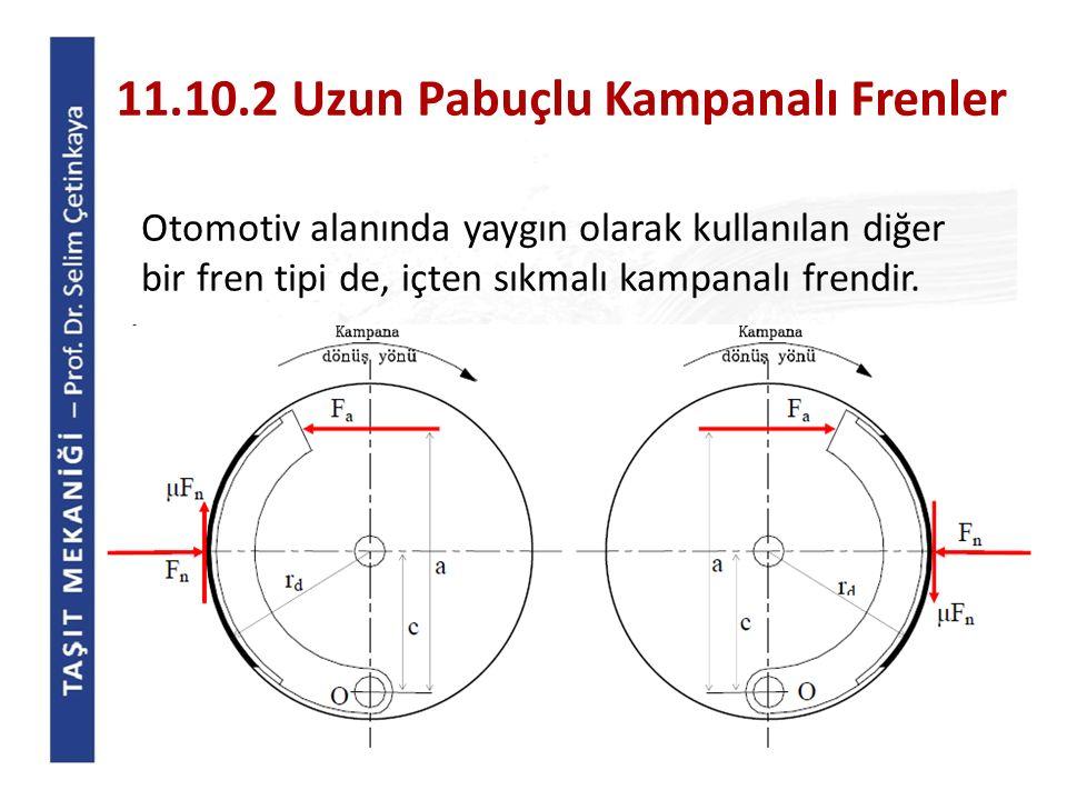 11.10.2 Uzun Pabuçlu Kampanalı Frenler Otomotiv alanında yaygın olarak kullanılan diğer bir fren tipi de, içten sıkmalı kampanalı frendir.