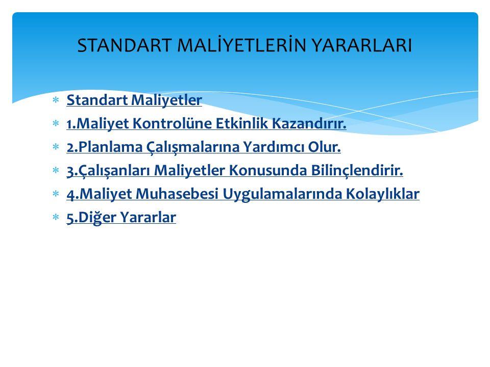  Standart Maliyetler  1.Maliyet Kontrolüne Etkinlik Kazandırır.