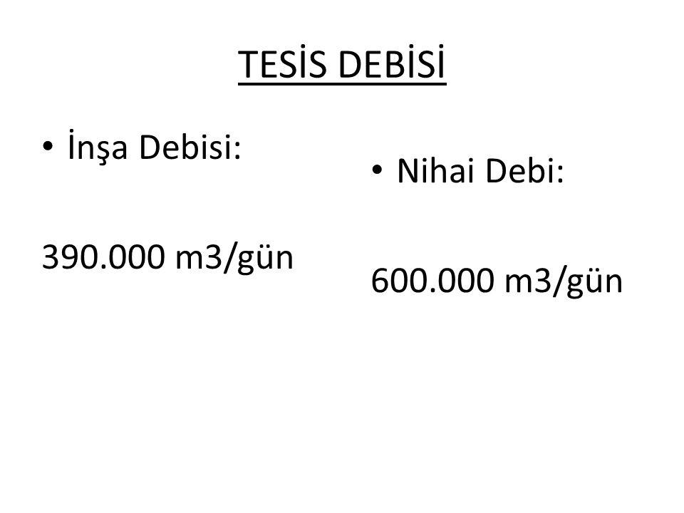 TESİS DEBİSİ İnşa Debisi: 390.000 m3/gün Nihai Debi: 600.000 m3/gün
