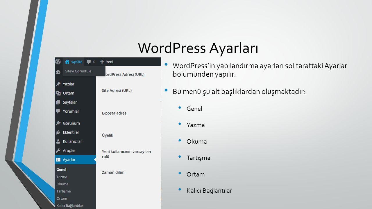 WordPress Ayarları WordPress'in yapılandırma ayarları sol taraftaki Ayarlar bölümünden yapılır. Bu menü şu alt başlıklardan oluşmaktadır: Genel Yazma