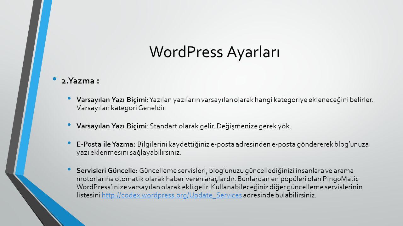WordPress Ayarları 2.Yazma : Varsayılan Yazı Biçimi: Yazılan yazıların varsayılan olarak hangi kategoriye ekleneceğini belirler. Varsayılan kategori G