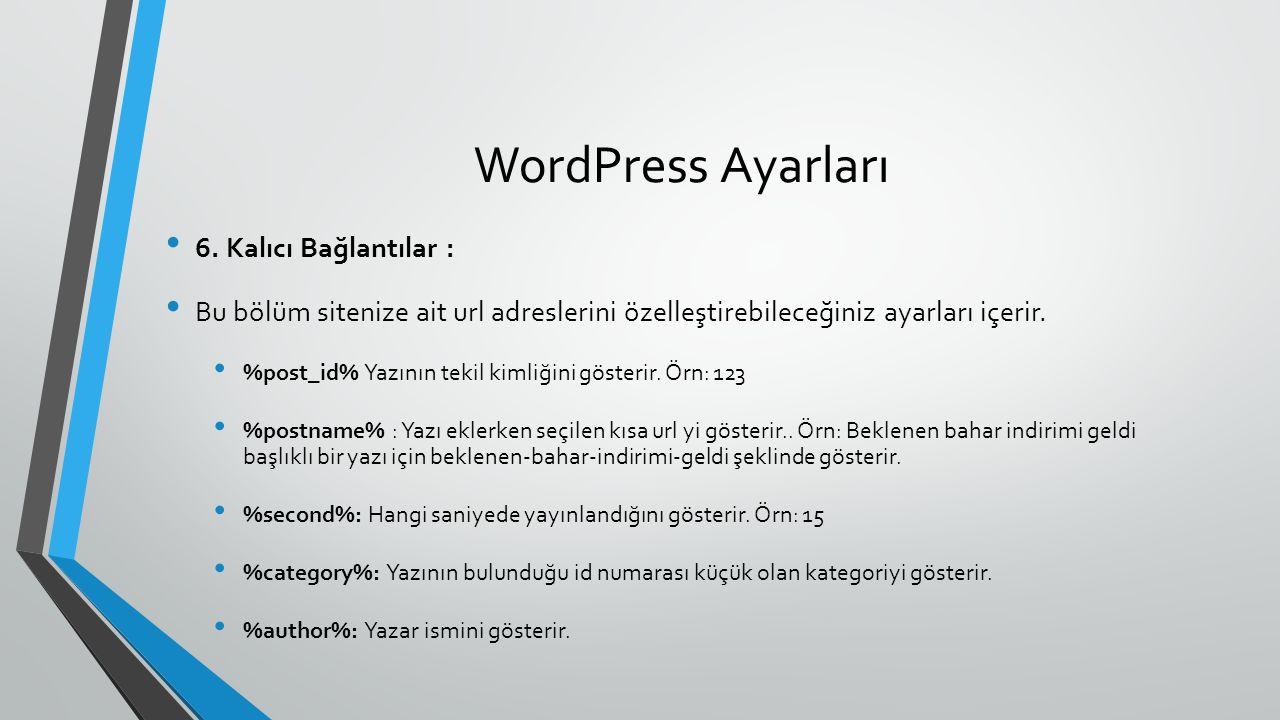 WordPress Ayarları 6. Kalıcı Bağlantılar : Bu bölüm sitenize ait url adreslerini özelleştirebileceğiniz ayarları içerir. %post_id% Yazının tekil kimli