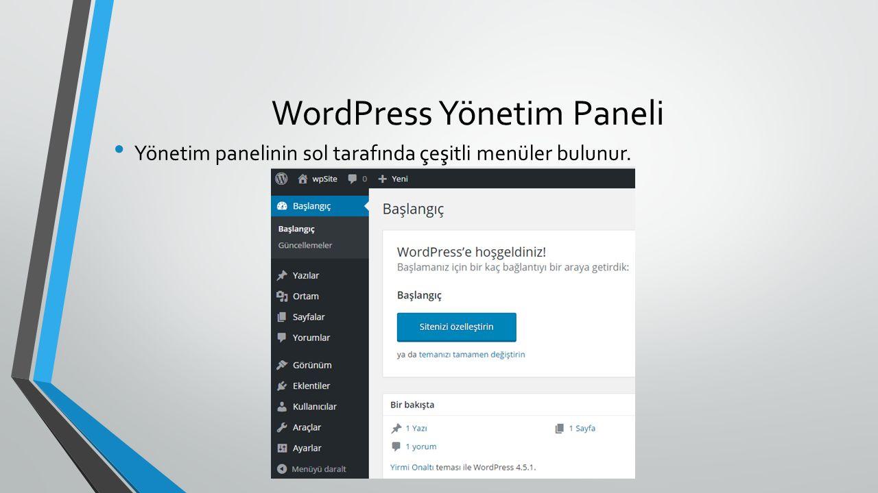 WordPress Yönetim Paneli Yönetim panelinin sol tarafında çeşitli menüler bulunur.