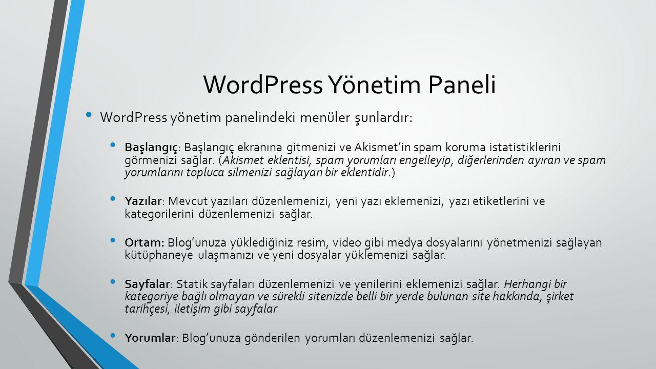 WordPress Yönetim Paneli WordPress yönetim panelindeki menüler şunlardır: Başlangıç: Başlangıç ekranına gitmenizi ve Akismet'in spam koruma istatistiklerini görmenizi sağlar.