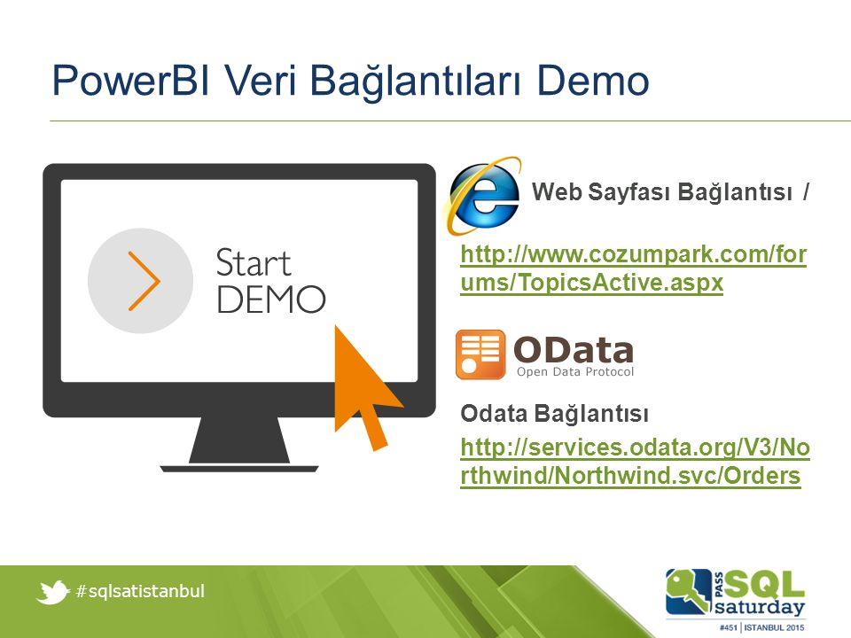 #sqlsatistanbul PowerBI Veri Bağlantıları Demo Web Sayfası Bağlantısı / http://www.cozumpark.com/for ums/TopicsActive.aspx Odata Bağlantısı http://services.odata.org/V3/No rthwind/Northwind.svc/Orders