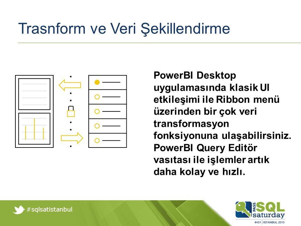 #sqlsatistanbul Trasnform ve Veri Şekillendirme PowerBI Desktop uygulamasında klasik UI etkileşimi ile Ribbon menü üzerinden bir çok veri transformasyon fonksiyonuna ulaşabilirsiniz.