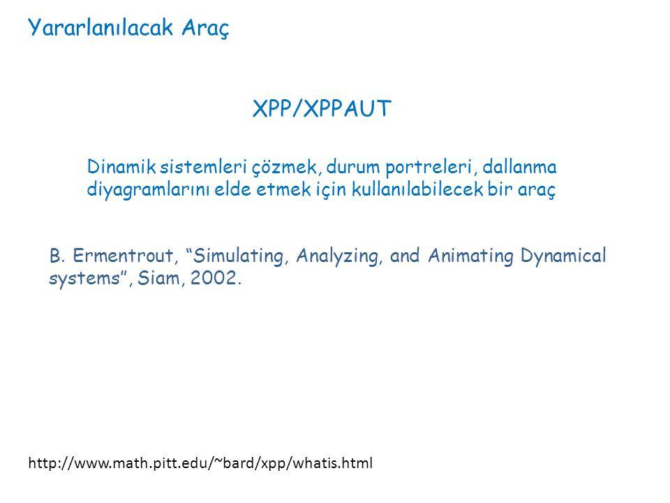 Yararlanılacak Araç http://www.math.pitt.edu/~bard/xpp/whatis.html XPP/XPPAUT Dinamik sistemleri çözmek, durum portreleri, dallanma diyagramlarını elde etmek için kullanılabilecek bir araç B.