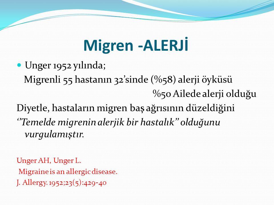 Migren -ALERJİ Unger 1952 yılında; Migrenli 55 hastanın 32'sinde (%58) alerji öyküsü %50 Ailede alerji olduğu Diyetle, hastaların migren baş ağrısının