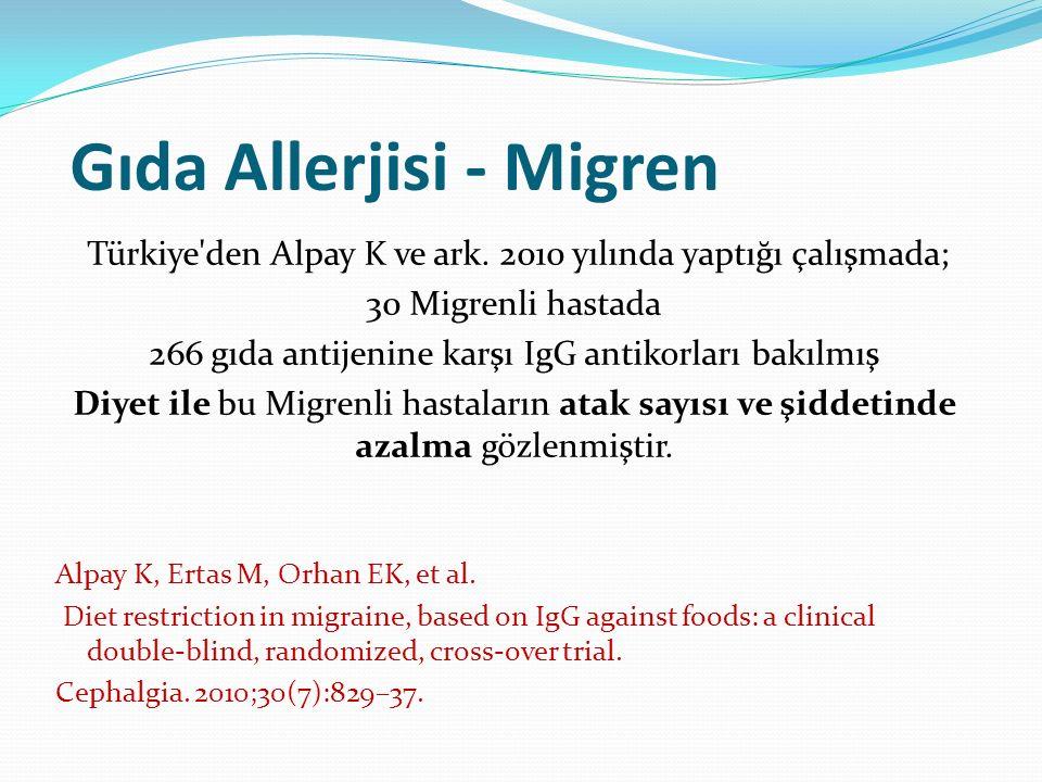 Gıda Allerjisi - Migren Türkiye'den Alpay K ve ark. 2010 yılında yaptığı çalışmada; 30 Migrenli hastada 266 gıda antijenine karşı IgG antikorları bakı