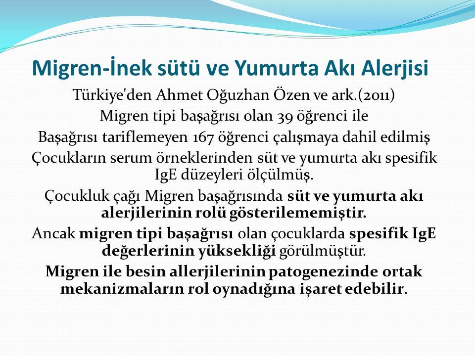 Migren-İnek sütü ve Yumurta Akı Alerjisi Türkiye'den Ahmet Oğuzhan Özen ve ark.(2011) Migren tipi başağrısı olan 39 öğrenci ile Başağrısı tariflemeyen