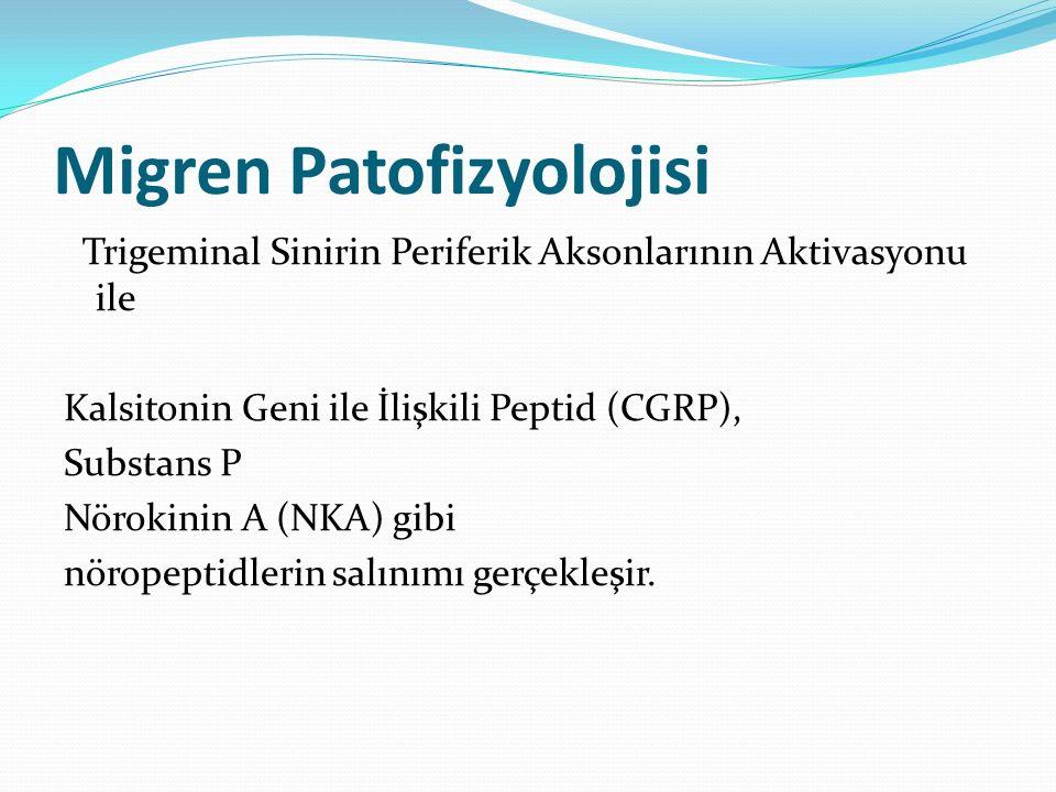 Migren Patofizyolojisi Trigeminal Sinirin Periferik Aksonlarının Aktivasyonu ile Kalsitonin Geni ile İlişkili Peptid (CGRP), Substans P Nörokinin A (N