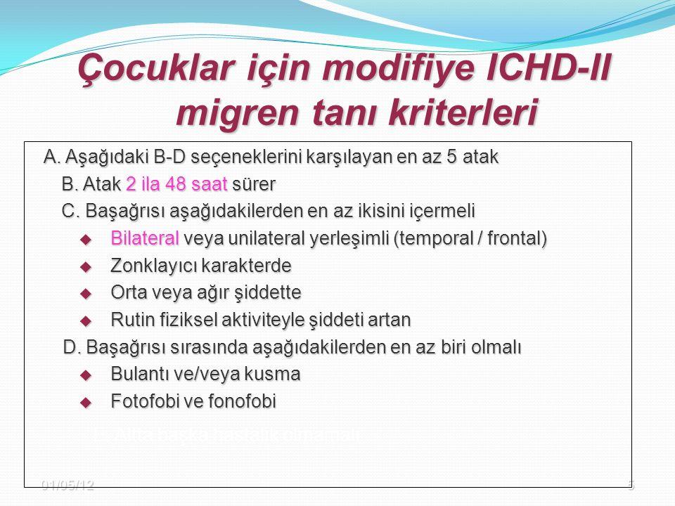 01/05/125 Çocuklar için modifiye ICHD-II migren tanı kriterleri A. Aşağıdaki B-D seçeneklerini karşılayan en az 5 atak B. Atak 2 ila 48 saat sürer B.