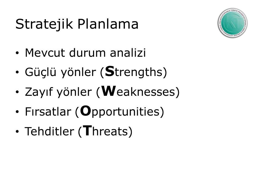 Stratejik Planlama Mevcut durum analizi Güçlü yönler ( S trengths) Zayıf yönler ( W eaknesses) Fırsatlar ( O pportunities) Tehditler ( T hreats)