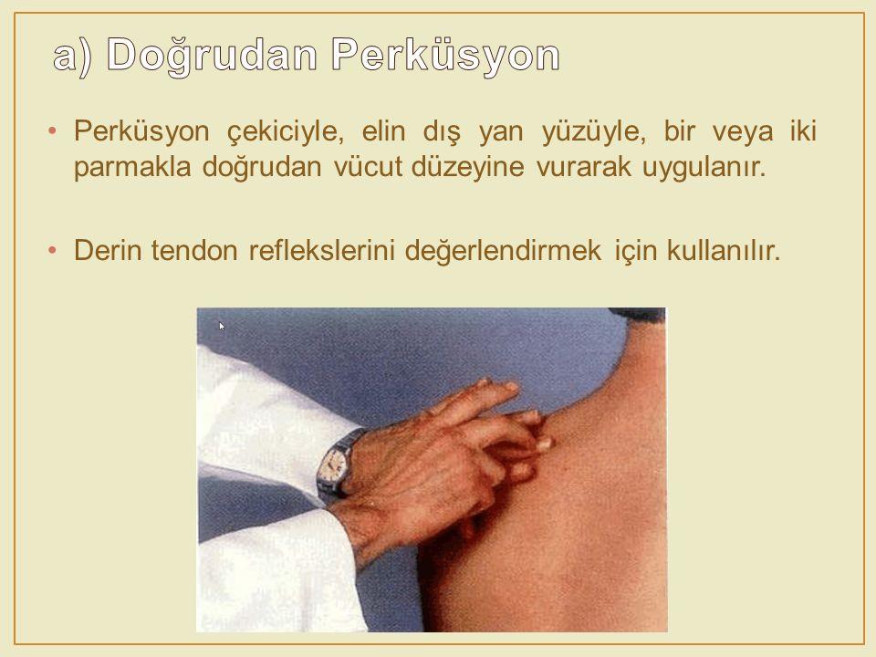 Perküsyon çekiciyle, elin dış yan yüzüyle, bir veya iki parmakla doğrudan vücut düzeyine vurarak uygulanır. Derin tendon reflekslerini değerlendirmek