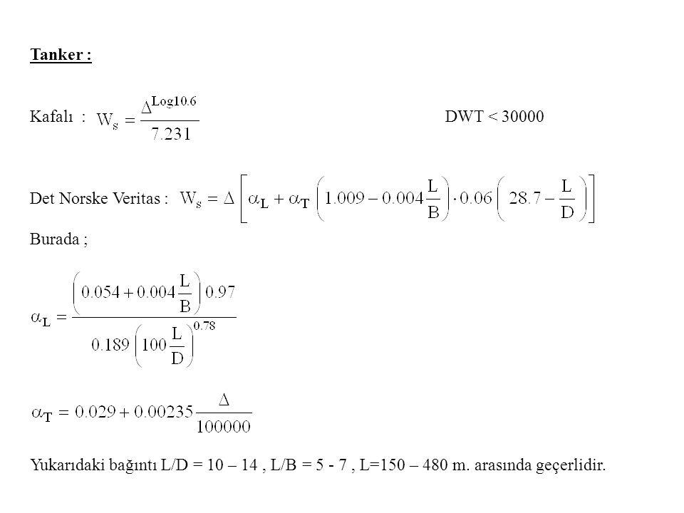 Tanker : Kafalı : DWT < 30000 Det Norske Veritas : Burada ; Yukarıdaki bağıntı L/D = 10 – 14, L/B = 5 - 7, L=150 – 480 m.