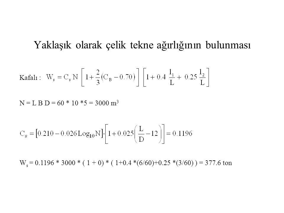 Yaklaşık olarak çelik tekne ağırlığının bulunması Kafalı : N = L B D = 60 * 10 *5 = 3000 m 3 W s = 0.1196 * 3000 * ( 1 + 0) * ( 1+0.4 *(6/60)+0.25 *(3/60) ) = 377.6 ton