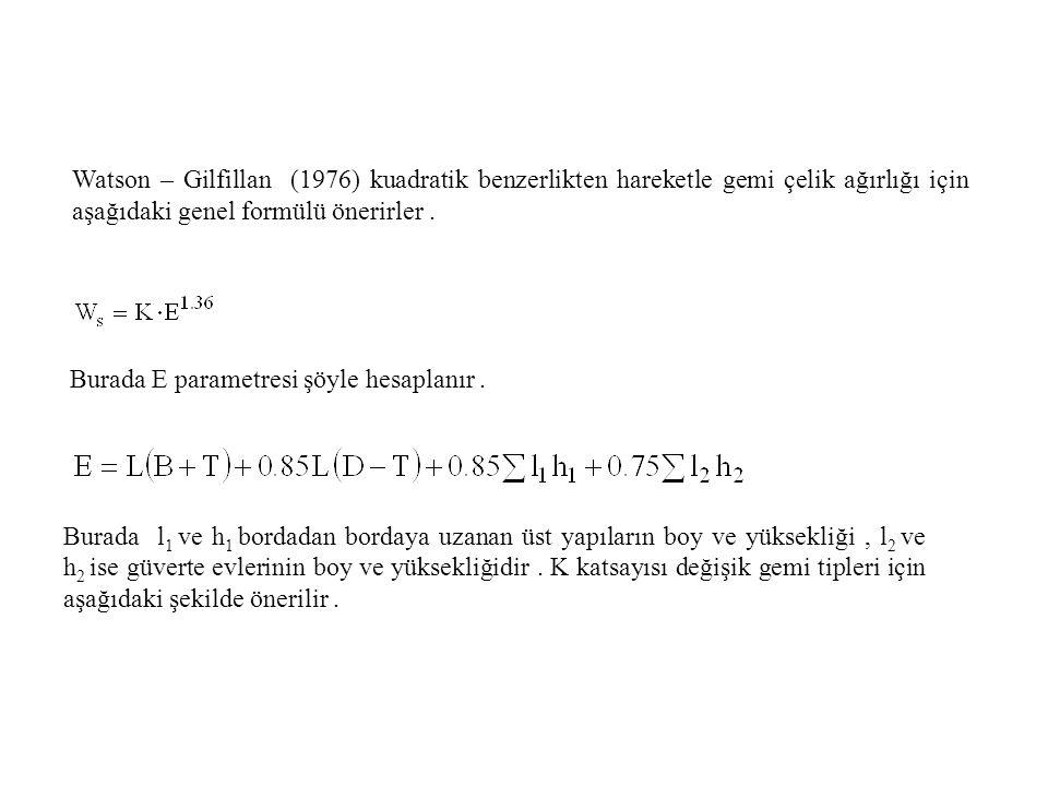Watson – Gilfillan (1976) kuadratik benzerlikten hareketle gemi çelik ağırlığı için aşağıdaki genel formülü önerirler.