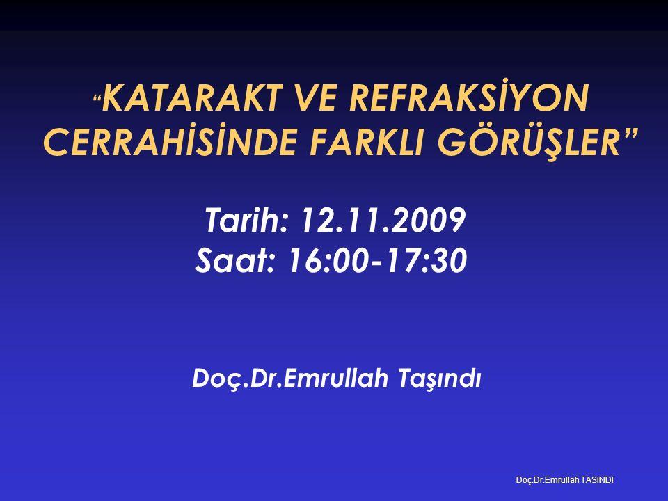 KATARAKT VE REFRAKSİYON CERRAHİSİNDE FARKLI GÖRÜŞLER Tarih: 12.11.2009 Saat: 16:00-17:30 Doç.Dr.Emrullah Taşındı Doç.Dr.Emrullah TASINDI