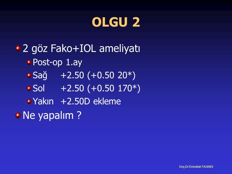 OLGU 2 2 göz Fako+IOL ameliyatı Post-op 1.ay Sağ+2.50 (+0.50 20*) Sol+2.50 (+0.50 170*) Yakın +2.50D ekleme Ne yapalım .