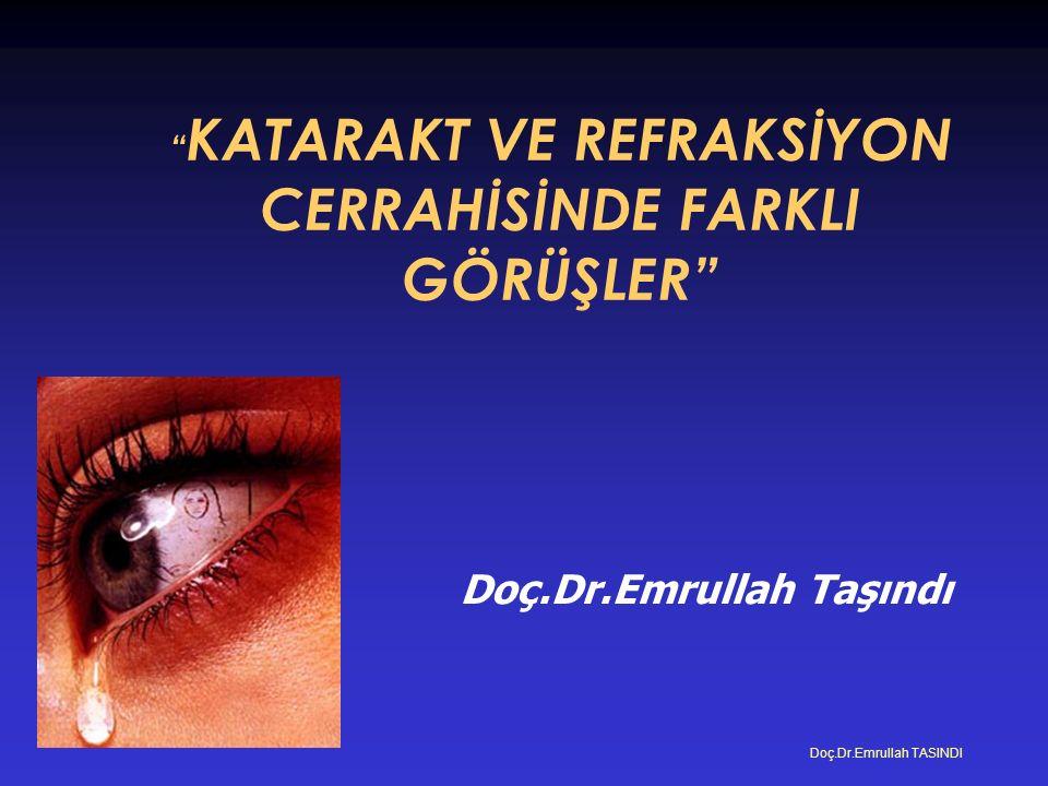 Doç.Dr.Emrullah Taşındı Doç.Dr.Emrullah TASINDI KATARAKT VE REFRAKSİYON CERRAHİSİNDE FARKLI GÖRÜŞLER