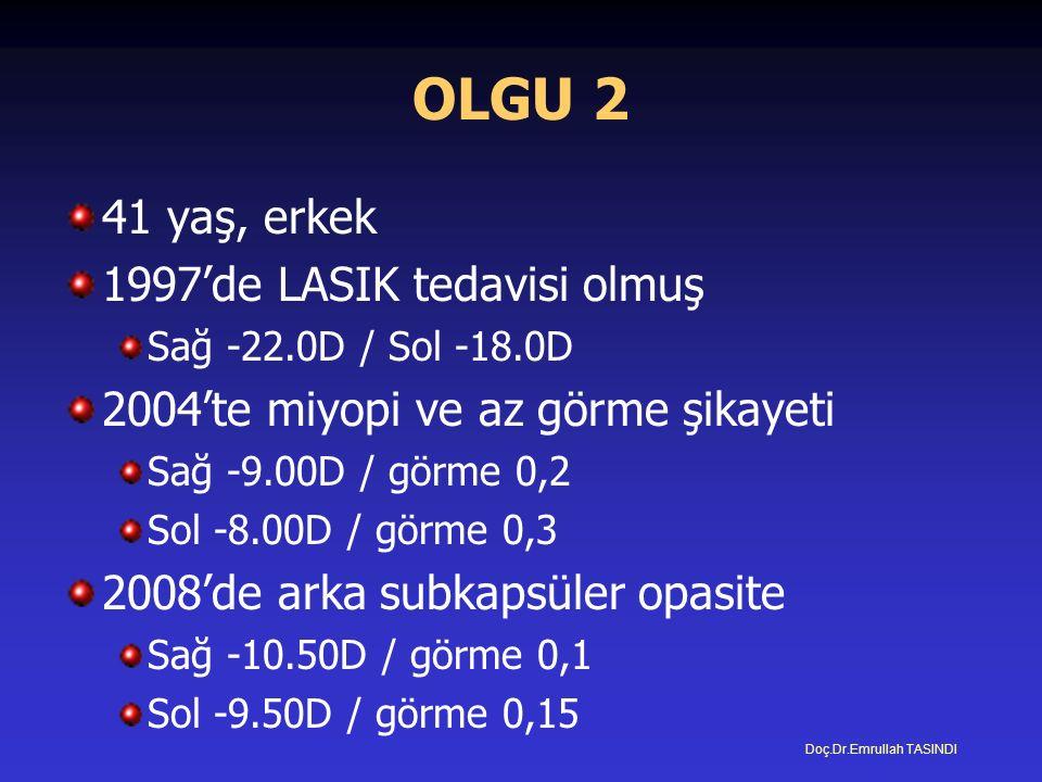 OLGU 2 41 yaş, erkek 1997'de LASIK tedavisi olmuş Sağ -22.0D / Sol -18.0D 2004'te miyopi ve az görme şikayeti Sağ -9.00D / görme 0,2 Sol -8.00D / görme 0,3 2008'de arka subkapsüler opasite Sağ -10.50D / görme 0,1 Sol -9.50D / görme 0,15 Doç.Dr.Emrullah TASINDI