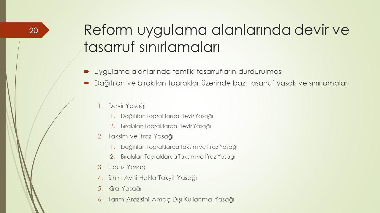 Reform uygulama alanlarında devir ve tasarruf sınırlamaları  Uygulama alanlarında temliki tasarrufların durdurulması  Dağıtılan ve bırakılan topraklar üzerinde bazı tasarruf yasak ve sınırlamaları 1.Devir Yasağı 1.Dağıtılan Topraklarda Devir Yasağı 2.Bırakılan Topraklarda Devir Yasağı 2.Taksim ve İfraz Yasağı 1.Dağıtılan Topraklarda Taksim ve İfraz Yasağı 2.Bırakılan Topraklarda Taksim ve İfraz Yasağı 3.Haciz Yasağı 4.Sınırlı Ayni Hakla Takyit Yasağı 5.Kira Yasağı 6.Tarım Arazisini Amaç Dışı Kullanma Yasağı 20