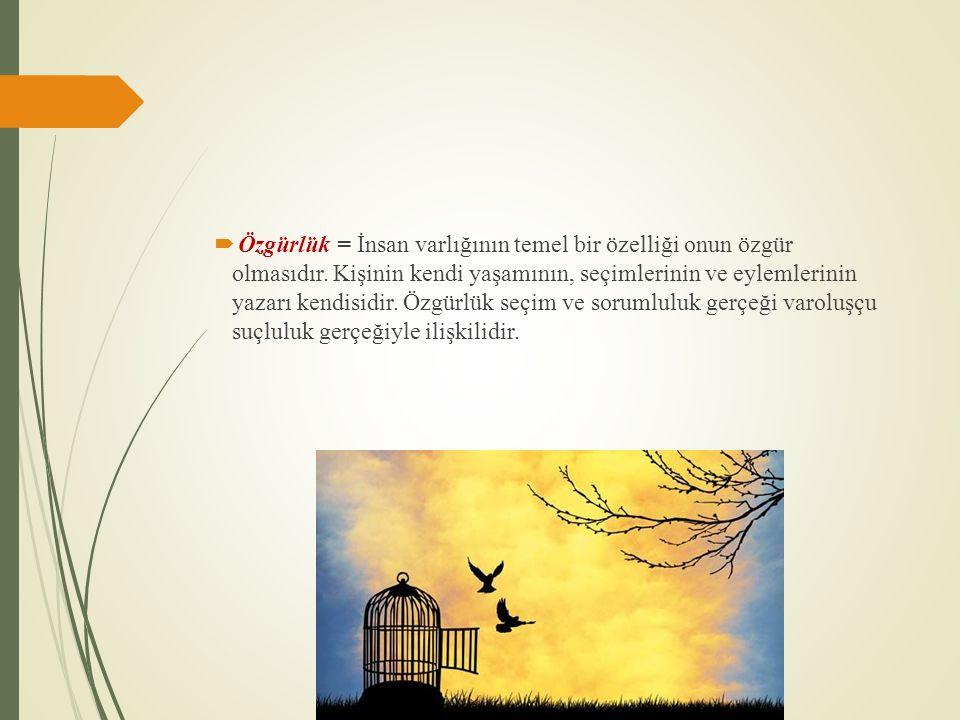  Özgürlük = İnsan varlığının temel bir özelliği onun özgür olmasıdır.