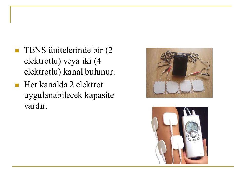 TENS ünitelerinde bir (2 elektrotlu) veya iki (4 elektrotlu) kanal bulunur.