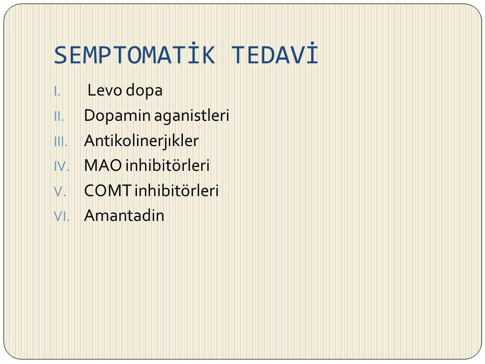 SEMPTOMATİK TEDAVİ I. Levo dopa II. Dopamin aganistleri III. Antikolinerjıkler IV. MAO inhibitörleri V. COMT inhibitörleri VI. Amantadin