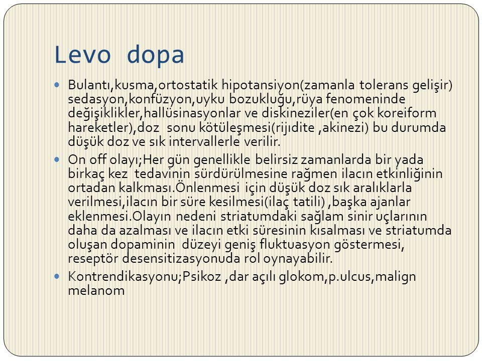 Levo dopa Bulantı,kusma,ortostatik hipotansiyon(zamanla tolerans gelişir) sedasyon,konfüzyon,uyku bozukluğu,rüya fenomeninde değişiklikler,hallüsinasy
