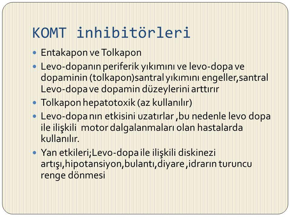 KOMT inhibitörleri Entakapon ve Tolkapon Levo-dopanın periferik yıkımını ve levo-dopa ve dopaminin (tolkapon)santral yıkımını engeller,santral Levo-do