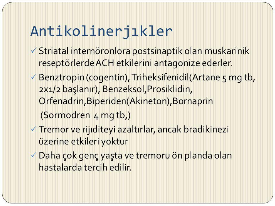 Antikolinerjıkler Striatal internöronlora postsinaptik olan muskarinik reseptörlerde ACH etkilerini antagonize ederler. Benztropin (cogentin), Triheks