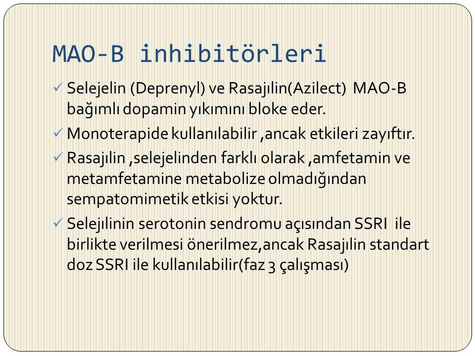 MAO-B inhibitörleri Selejelin (Deprenyl) ve Rasajılin(Azilect) MAO-B bağımlı dopamin yıkımını bloke eder. Monoterapide kullanılabilir,ancak etkileri z