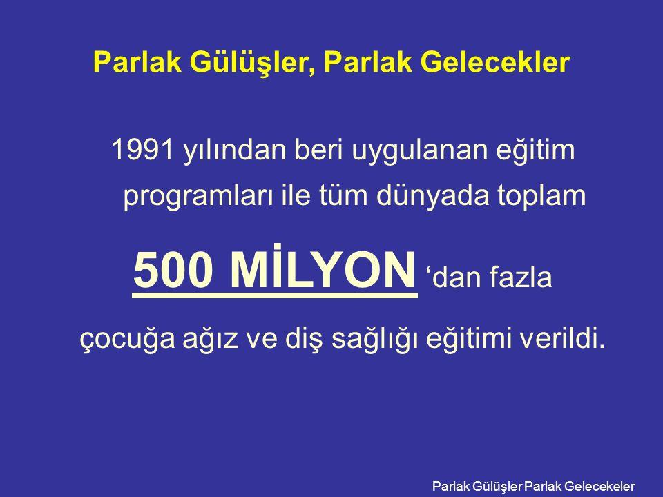 Parlak Gülüşler Parlak Gelecekeler Parlak Gülüşler, Parlak Gelecekler 1991 yılından beri uygulanan eğitim programları ile tüm dünyada toplam 500 MİLYO