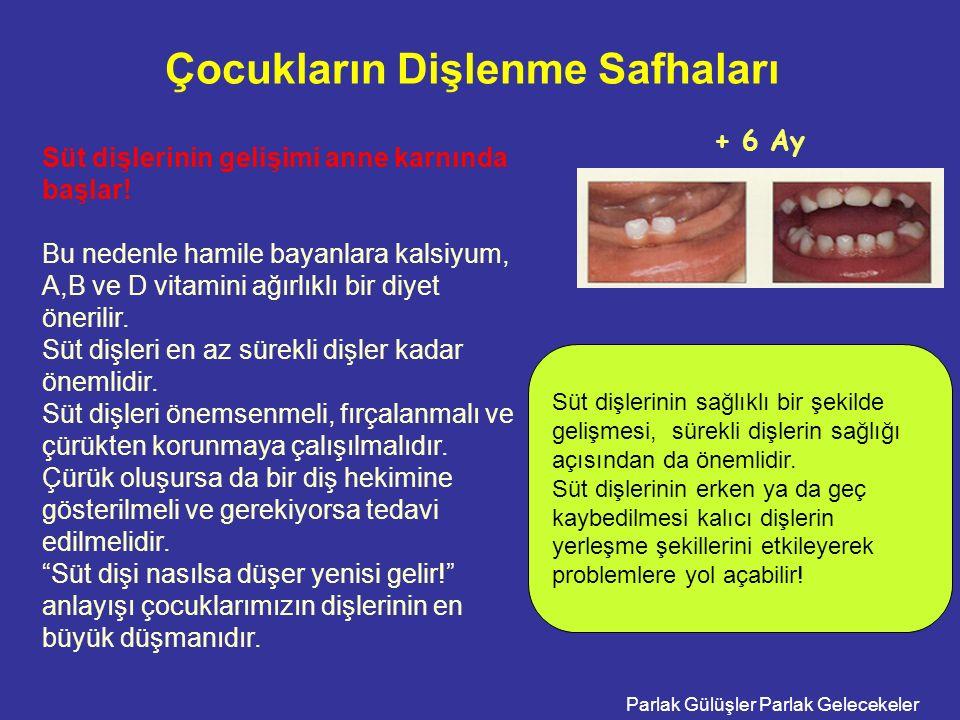 Parlak Gülüşler Parlak Gelecekeler Çocukların Dişlenme Safhaları + 6 Ay Süt dişlerinin gelişimi anne karnında başlar.