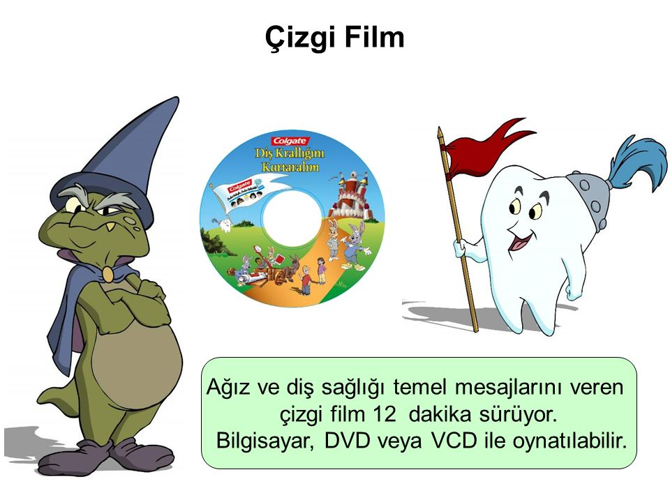 Parlak Gülüşler Parlak Gelecekeler Çizgi Film Ağız ve diş sağlığı temel mesajlarını veren çizgi film 12 dakika sürüyor. Bilgisayar, DVD veya VCD ile o