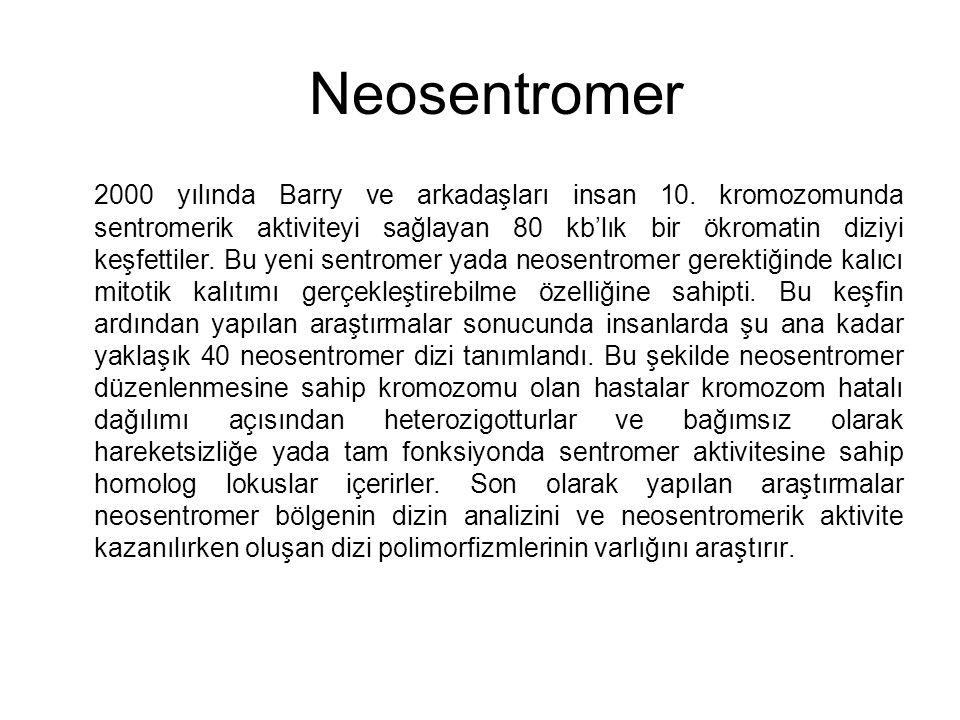 Neosentromer 2000 yılında Barry ve arkadaşları insan 10. kromozomunda sentromerik aktiviteyi sağlayan 80 kb'lık bir ökromatin diziyi keşfettiler. Bu y