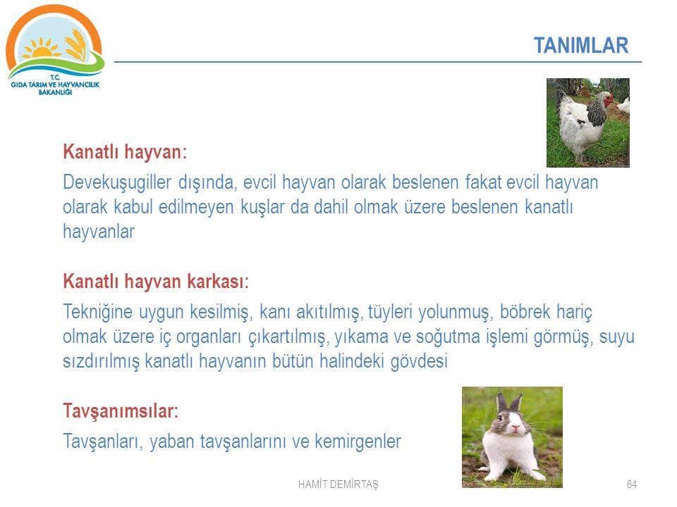 64 TANIMLAR Kanatlı hayvan: Devekuşugiller dışında, evcil hayvan olarak beslenen fakat evcil hayvan olarak kabul edilmeyen kuşlar da dahil olmak üzere