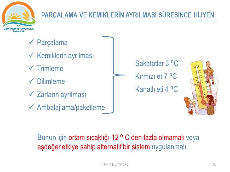 83 Parçalama Kemiklerin ayrılması Trimleme Dilimleme Zarların ayrılması Ambalajlama/paketleme Sakatatlar 3 ⁰ C Kırmızı et 7 ⁰ C Kanatlı eti 4 ⁰ C Bunun için ortam sıcaklığı 12 ⁰ C den fazla olmamalı veya eşdeğer etkiye sahip alternatif bir sistem uygulanmalı PARÇALAMA VE KEMİKLERİN AYRILMASI SÜRESİNCE HİJYEN HAMİT DEMİRTAŞ