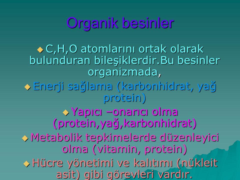 Organik besinler  C,H,O atomlarını ortak olarak bulunduran bileşiklerdir.Bu besinler organizmada,  Enerji sağlama (karbonhidrat, yağ protein)  Yapıcı –onarıcı olma (protein,yağ,karbonhidrat)  Metabolik tepkimelerde düzenleyici olma (vitamin, protein)  Hücre yönetimi ve kalıtımı (nükleit asit) gibi görevleri vardır.