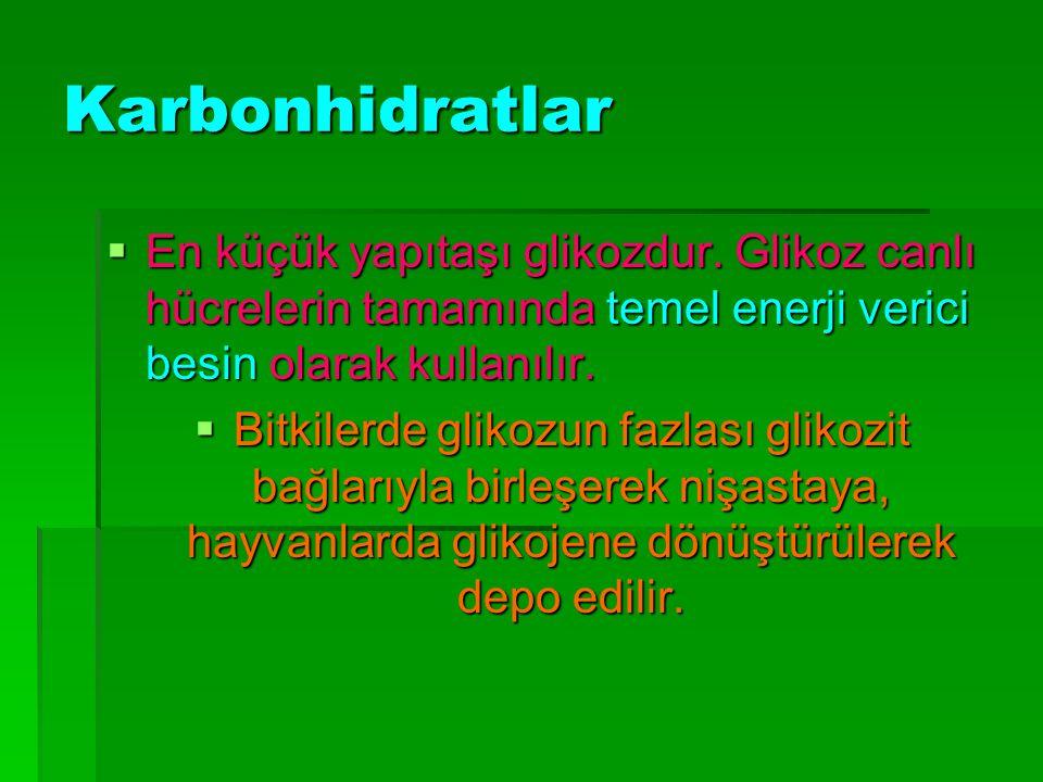 Karbonhidratlar  En küçük yapıtaşı glikozdur.