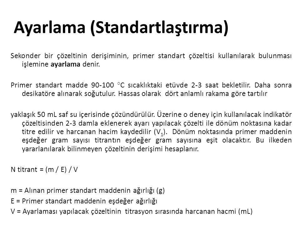 Ayarlama (Standartlaştırma) Sekonder bir çözeltinin derişiminin, primer standart çözeltisi kullanılarak bulunması işlemine ayarlama denir. Primer stan