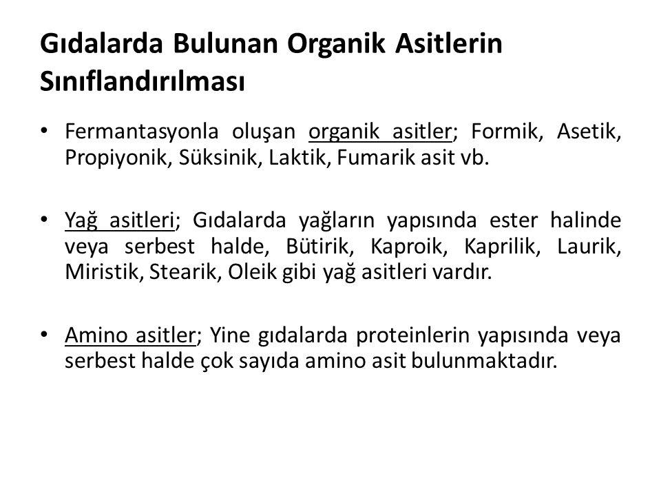 Gıdalarda Bulunan Organik Asitlerin Sınıflandırılması Fermantasyonla oluşan organik asitler; Formik, Asetik, Propiyonik, Süksinik, Laktik, Fumarik asi