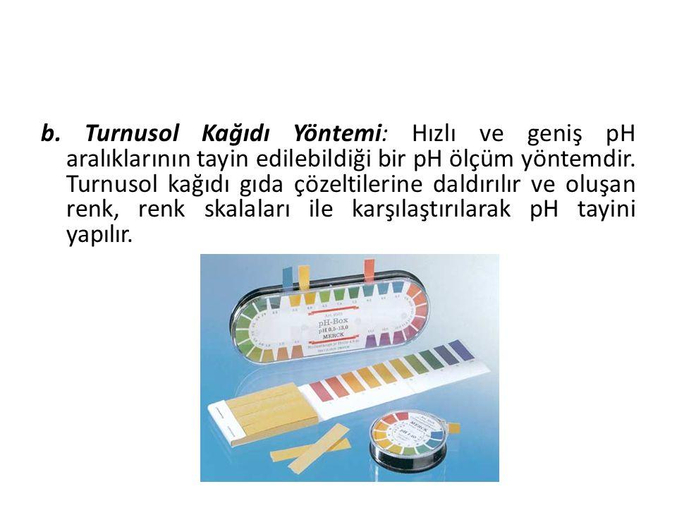 b. Turnusol Kağıdı Yöntemi: Hızlı ve geniş pH aralıklarının tayin edilebildiği bir pH ölçüm yöntemdir. Turnusol kağıdı gıda çözeltilerine daldırılır v