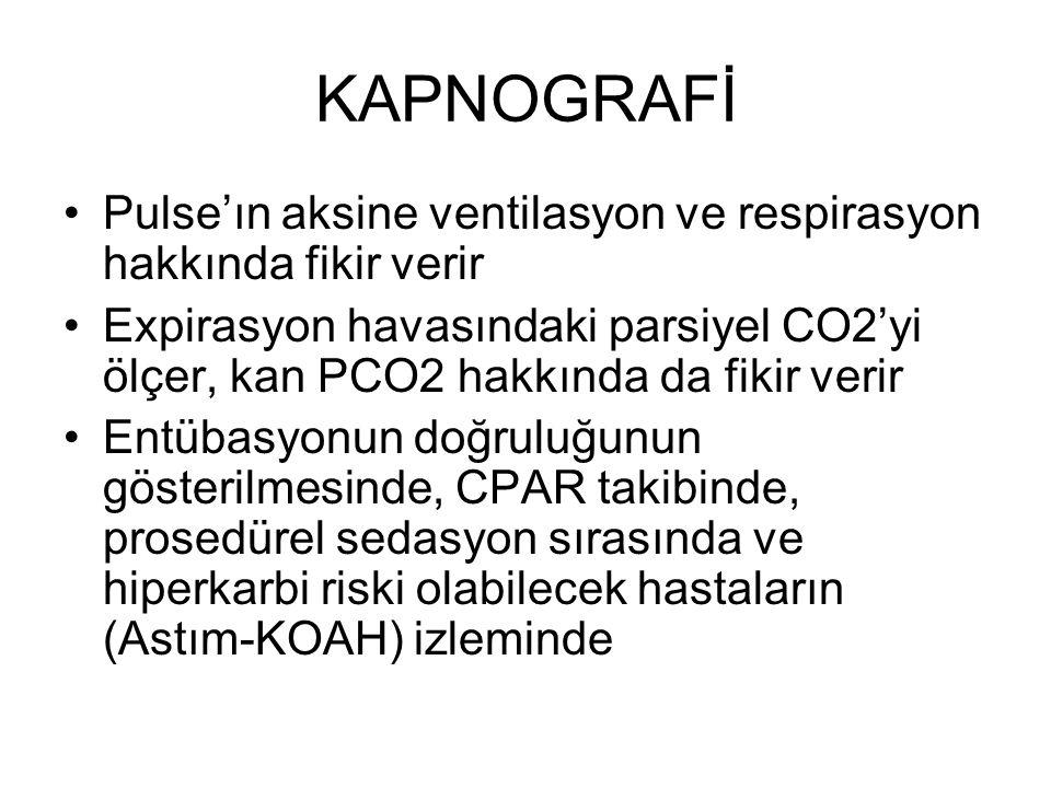 KAPNOGRAFİ Pulse'ın aksine ventilasyon ve respirasyon hakkında fikir verir Expirasyon havasındaki parsiyel CO2'yi ölçer, kan PCO2 hakkında da fikir verir Entübasyonun doğruluğunun gösterilmesinde, CPAR takibinde, prosedürel sedasyon sırasında ve hiperkarbi riski olabilecek hastaların (Astım-KOAH) izleminde
