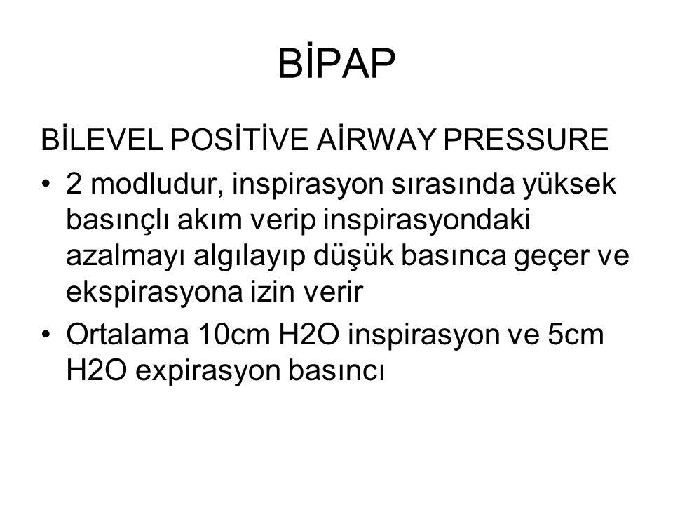 BİPAP BİLEVEL POSİTİVE AİRWAY PRESSURE 2 modludur, inspirasyon sırasında yüksek basınçlı akım verip inspirasyondaki azalmayı algılayıp düşük basınca geçer ve ekspirasyona izin verir Ortalama 10cm H2O inspirasyon ve 5cm H2O expirasyon basıncı